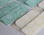 Mini Cards n Envelopes - Set of 8 - Cream and Aqua Blue Flowers