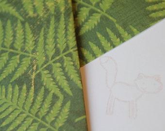 Set of 2 Stationery - Forrest Green Fern Leaves, Nature, Golden Fox - Feelin Foxy