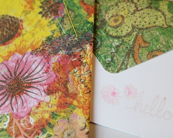 Set of 2 Stationery - Hello - Sunflowers with Green Designs, Floral Patterns, Pink, Green
