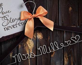 Bridesmaid Hangers, Bridesmaid Gift, Personalized Hangers, Wire name hanger, new last name hanger, Bride Hanger, Dark Hanger
