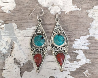Nepalese Earrings , Tibetan Earrings , Turquoise & Coral Earrings ,  Boho Turquoise Earrings