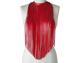 Leather Fringe Necklace - Fringe Choker - leather chokers for women - Long leather necklace - Ruby Red lambskin - Leather fringe necklace