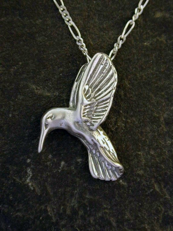 Sterling Silver Hummingbird Pendant on Sterling Silver Chain.