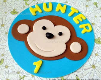 MONKEY Edible Cake Topper. BLUE and YELLOW
