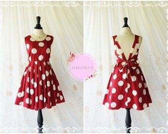 Party V Backless Dress Polka Dot Dress Burgundy White Polka Dot Prom Party Dress Backless Red Bridesmaid Dress Wedding Cocktail Dress  XS-XL