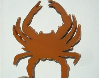 crab coastal wood art