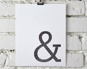 Ampersands & zig zags, letterpress print
