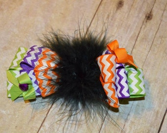 Chevron Print Halloween Hairbow with Marabou Feather accents