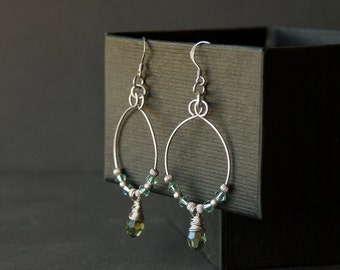 Sterling silver hoop earrings. Crystal sea green earrings. Hoop beaded earrings. Eco-friendly sterling silver jewellery. Gift for her.