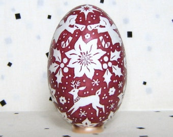 RESERVED for N. Christmas motifs. Goose egg. Pysanka.