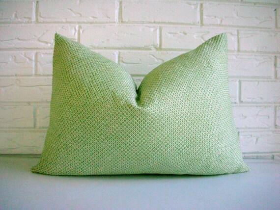 SALE Green Shibori Pillow Cover - Repurposed Vintage Japanese Silk Kimono - Light Pale Green Ivory - Modern Zen