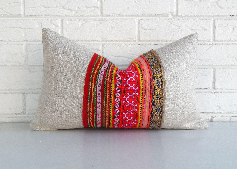 Colorful Bohemian Throw Pillows : Colorful Hmong Pillow Cover Bohemian Throw by habitationBoheme