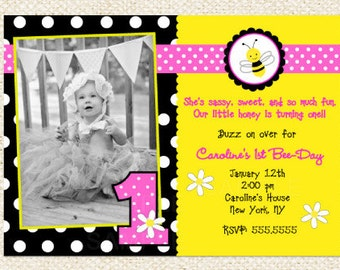 Bee Birthday Invitations, Bumble Bee invitations, DIY printable