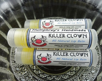 KILLER CLOWN Lip Balm, Cotton Candy Flavor, Cotton Candy Lip Balm, All Natural Bee Balm, Soft and Buttery