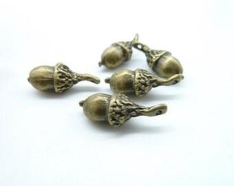 10pcs 7x20mm Antique Bronze 3D  Heavy Pineal Fruit Acorn Nut Charm Pendant c4514