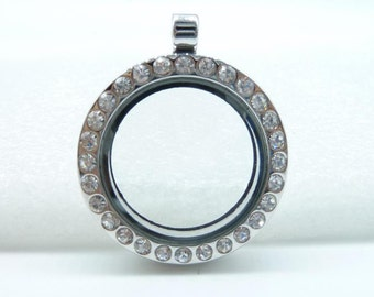2pcs 30mm-23mm White K (Rhodium Color) Round Locket  Frame With Class and Crystal Floating Charm Pendant c7662