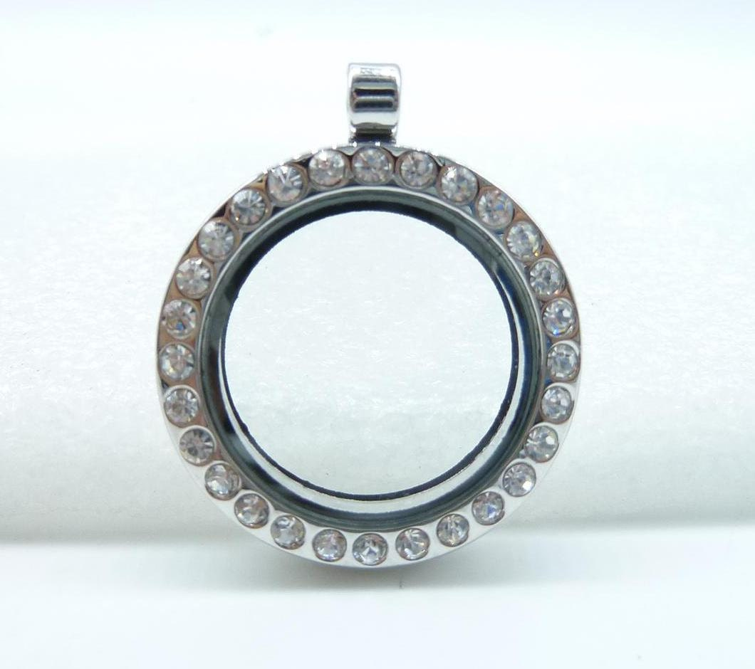 2pcs 30mm-23mm White K Round Locket Frame With Class and Crystal Floating Charm Pendant c7662