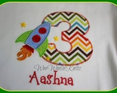 Rocket Ship Birthday Shirt Bib Chevron Personalized Embroidered Girls Applique 1st 2nd 3rd Girls