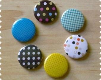 Polka Dot Flair Button Pins, Magnets, or Thumb Tacks - Set of 6 - Home, Office, Desk, Abstract, Modern