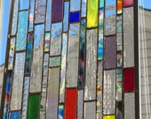 Stained Glass Panel with Blown Glass   stained glass suncatcher   colorful playfullness