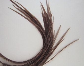 50 long feather hair extensions 6 to 10 inches natural slate grey bulk feathers