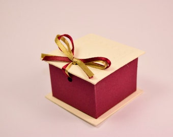 Ivory and Burgundy Wedding Favor Box Set Of 10- Ideal for wedding table decoration, ring box, jewellry, packaging