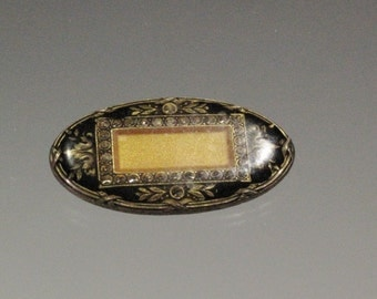 Pin - Small Oval Vintage Brooch - Hallmarked - Catherine Popesco - France - Fine Detail - Silver Tone Metal - Gold Tone Detail