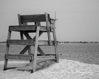 Lifeguard Chair, black and white beach or lake art photograph, summer sun and sand