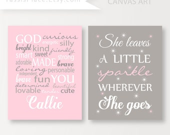 Personalized girl decor CANVAS ART She leaves a little sparkle wherever she goes Custom Name print baby girl pink wall art gift YassisPlace