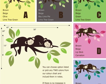 Monkeys on the Branch Wall Sticker - African Wall Stickers - Jungle Safari Wall Decals