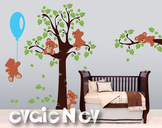 Adorable teddy bears wall decals and baby nursery wall for Baby girl wall decoration