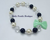 RTS SALE 20% off Navy Bow Pearl Necklace in Navy, Mint green, and Clear Beads.