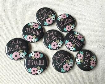 1 Inch Custom Button Pins or Magnets. Set of 50. Chalkboard Flower Design. Baby Shower Favors. Party Favors. Guest Mementos. Pinback Badges.