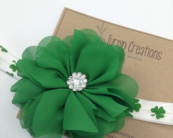 St Patrick's Day Headband Green Headband Shamrock Headband Ballerina Flower Newborn Headband Photo Prop