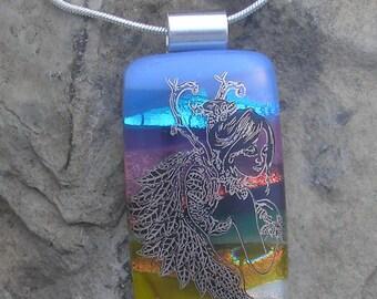 Faerie Pendant Dichroic Fused Glass Faerie Necklace