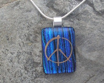 Peace Necklace Dichroic Fused Glass Peace Jewelry