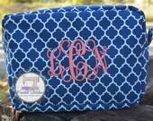 Monogrammed Cosmetic Bag Quatrefoil Cosmetic Bag Graduation Gift Wedding Gift FREE SHIPPING