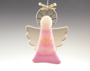 Pink Glass Guardian Angel Ornament with Heart