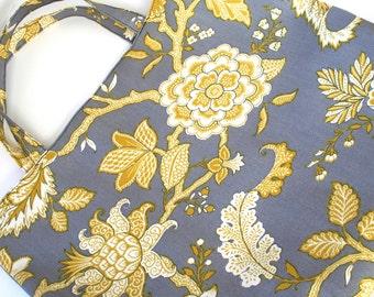 Tote bag - large - knitting bag - grey/yellow floral
