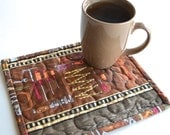 Handyman Mug Rug, Quilted Snack Mat, Cotton Coaster, Fathers Day gift, Under 10, man cave decor, DIY Dad, Grandpa