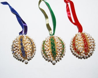 Vintage Ornaments Handmade Sequins and Trim on Globes.......Three