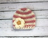 Crocheted Baby Flower Hat - Mauve & Ivory