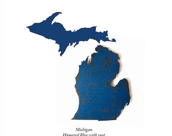 "Michigan with Upper MI - 25.3"" wide - metal wall art - MI wall decor - Rust Patina - Michigan art - detroit ann arbor lansing grand rapids"
