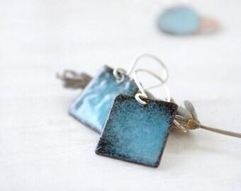 Small square earrings - blue enamel earrings - sky blue and black sterling silver - enamel jewelry by Alery