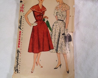 Simplicity 1535 Vintage Shawl Collar Gored Skirt Dress Sewing Pattern Bust 33""