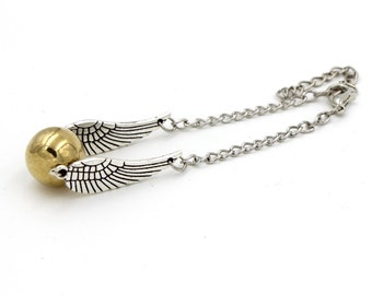 Steampunk Enchanted FLYING Golden Snitch - Bracelet or Necklace - By GlazedBlackCherry