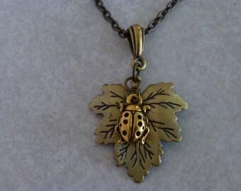 Ladybug and Maple Leaf Necklace