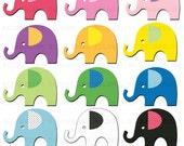 Cute Elephants Clipart Clip Art Digital Scrapbooking Commercial Use - printable clipart - Instant Download  - DP301