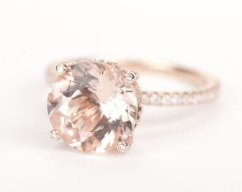 CERTIFIED - GIA Certified Huge Round Morganite & Diamonds Candy Ring 14K Rose Gold