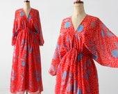 1970s Zandra Rhodes dress, boho print dress